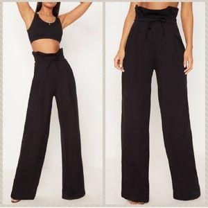 NWT PLT Black paper bag high waist wide leg pants